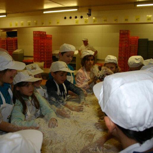 Kinder am Backen in der Bäckerei Nußbaumer