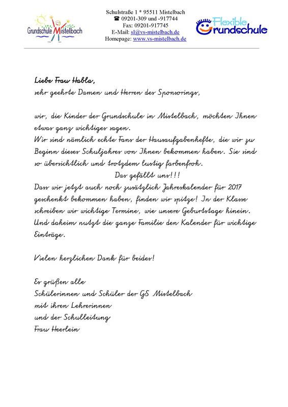 Brief von Schülern